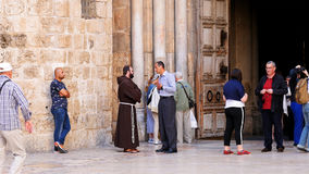 Entrance of the Holy Sepulcher Church in Jerusalem Stock Image