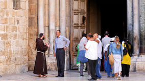 Entrance of the Holy Sepulcher Church in Jerusalem Stock Photos
