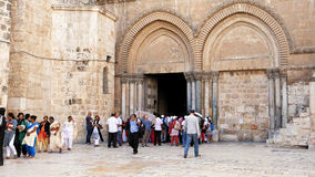 Entrance of the Holy Sepulcher Church in Jerusalem Royalty Free Stock Images