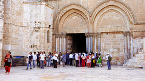 Entrance of the Holy Sepulcher Church in Jerusalem Stock Images