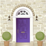 Entrance of house. Vector color drawing Royalty Free Stock Images