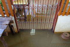 Entrance of a House fully flooded.  stock image