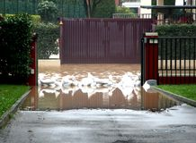Entrance of the House with sandbags Stock Photography