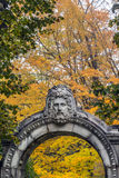 Entrance of Hucules. One of the many statues located in Guildwook Park in Scarborough Stock Photography