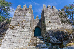 Entrance of the keep of the castle where the first king of Portugal imprisoned his mother Stock Photo