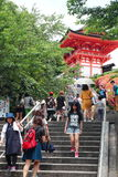 The entrance of Kiyomizu-Dera Temple in Kyoto crowded by visitors and tourists. Royalty Free Stock Images