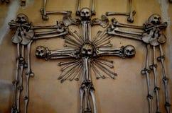 Entrance at Kutna Hora Bone Church. Skulls and bones at Kutna Hora bone church stock photography