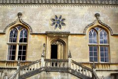 The entrance of Lacock abbey in Lacock Wiltshire, England. The British abbey was founded in the early 13th century by Ela, Countess of Salisbury, as a nunnery of royalty free stock images