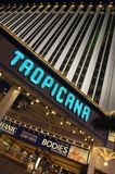 The entrance of legendary Tropicana Hotel and Casino glows brightly on the Las Vegas Strip stock photo