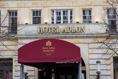 Entrance and logo of  the famous Hotel Adlon in Berlin, Germany. Royalty Free Stock Photos