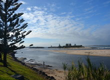The Entrance at low tide from Marine Parade. Stock Photos