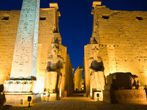 Entrance of luxor temple. Luxor Temple at night, Thebes Royalty Free Stock Image