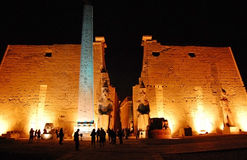 The entrance of Luxor Temple at night. The entrance of Luxor Temple in lights at night Royalty Free Stock Image