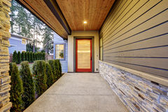 Entrance of Luxurious new construction home in Bellevue, WA royalty free stock photo