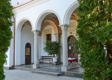 The entrance of the main church in Klisurski Monastery. Klisurski Monastery is located in northwestern Bulgaria near the town of Berkovitsa. It was founded in Royalty Free Stock Photos