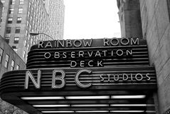 Entrance marquee of nbc television studios of new york, usa. New York, USA - November 13, 2008: entrance marquee of nbc television studios building with Royalty Free Stock Photography