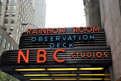 Entrance marquee of nbc television studios of new york, usa. New York, USA - November 13, 2008: entrance marquee of nbc television studios building with Stock Image