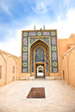 Entrance in Masjed-i Jame' Mosque, Yazd, Iran. Brightly decorated entrance in Masjed-i Jame' Mosque in Yazd, Iran Stock Image