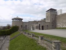 Entrance of the Mathausen concentration camp stock photo