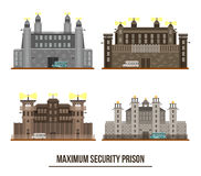Entrance at maximum security prison with towers Royalty Free Stock Photos