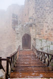 Entrance in medieval Ajlun Castle in foggy day Stock Photos