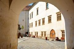 Entrance in medieval Fagaras fortress, in Brasov county, Transylvania Stock Image