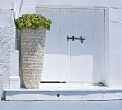 Entrance in Mediteranean house. Bright scene of a typical Mediterranean doorway decorated with potted plant Stock Photography