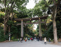 Entrance at Meiji-jingu temple in Shibuya, Tokyo, Japan. Tokyo, Japan - December 6, 2015: Entrance at Meiji-jingu temple in Shibuya, Tokyo, Japan Royalty Free Stock Photo