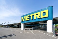Entrance of a Metro cash & carry market. Metro cash & carry is the largest sales division of the German trade and retail giant Metro AG stock photos