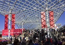 Entrance of the Milan Trade fair during the Salone del Mobile Stock Photos
