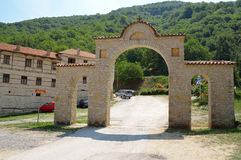 Entrance of Moastery of Panagya in Kleisoura, Greece Stock Image
