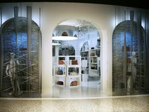 Entrance into a modern store selling handbags. Stock Image
