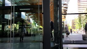 Entrance of modern Telus building. At downtown Vancouver stock footage