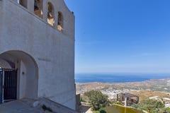 Entrance of Monastery Prophet Elias and panorama to Santorini island, Thira, Greece Royalty Free Stock Photo