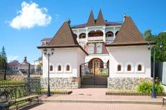 At the entrance in the Myshkin house, sunny summer day. Myshkin, Yaroslavl region, Russia Royalty Free Stock Photo