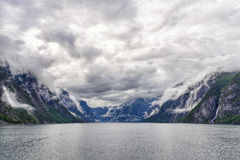 The entrance of Naeroyfjord in southern Norway Stock Image