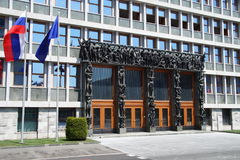 Entrance of the National Assembly of the Republic of Slovenia Stock Image