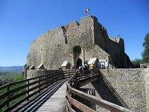 Entrance in Neamt fortress. Moldova, Romania royalty free stock photo