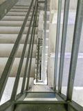 Entrance in a new building, steps, top view down.Construction of concrete stairs under construction works. Entrance in a new building, steps, top view down stock image
