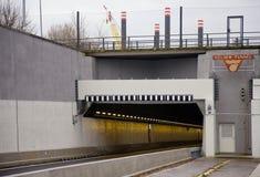 Entrance of new built tunnel Velsertunnel in Velsen, The Netherlands Stock Photography