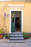 Entrance of an old building in the town of Corfu island, Greece Stock Photo