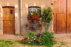 Entrance and flowers. Entrance in a old house at the countryside Royalty Free Stock Images