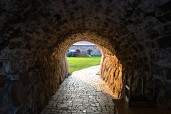 Entrance of old Korela fortress at evening Stock Image