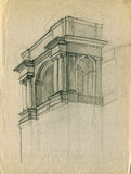 Entrance of the old theater building pencil sketch. Pencil sketch illustration of the entrance of the old theatre building royalty free illustration