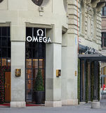 Entrance of the Omega watch store decorated for Christmas Stock Photography