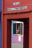 Entrance in one small street on Burano Royalty Free Stock Photo