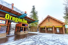 The entrance of Oregon Zoo in Washington Park station at winter. Portland, Oregon, United States - Dec 25, 2017 : The entrance of Oregon Zoo in Washington Park Royalty Free Stock Photos
