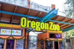 The entrance of Oregon Zoo in Washington Park station at winter. Portland, Oregon, United States - Dec 25, 2017 : The entrance of Oregon Zoo in Washington Park Royalty Free Stock Images