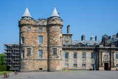 Palace of Holyrood house Edinburgh, official residence Monarchy in Scotland. Entrance Palace of Holyrood house in Edinburgh, official residence of the Monarchy royalty free stock photo