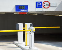 Entrance of the parking garage. In the city Stock Photos